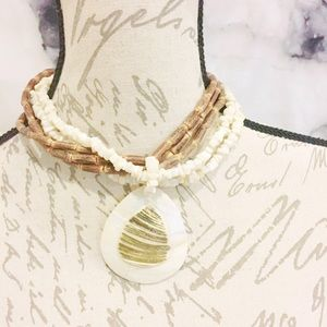Jewelry - Wood Bead Faux Shell Necklace